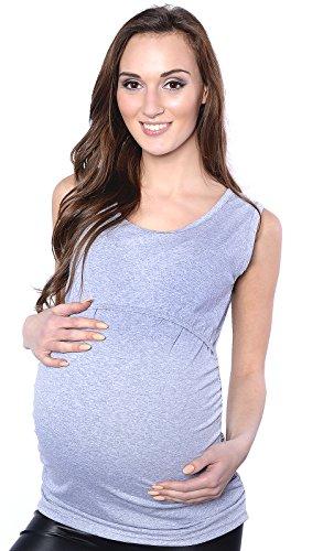 Mija - Umstandsmode / 2in 1 Stilltop Umstandstop / Stillshirt & Umstandsshirt 3093 Melange