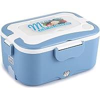 Fdit Caja Calentadora Almuerzo Eléctrica Calentador de Coche Portátil Almuerzo Eléctrico Mini Caja de Calentador Termostático Buffet de Viaje Socialme-eu(Azul 24V)