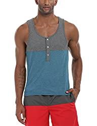 Zobello Mens Colorblock Henley Tank(21240A_Charcoal/Turquoise_Large)