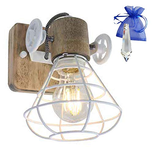 Deckenleuchte Holz Metall Gitter Spot 1-flammig Weiß E27 Wandleuchte im industriellen rustikalen Vintage Look 1578W + Kristall GiveAway - 1-licht-kristall-wandleuchte