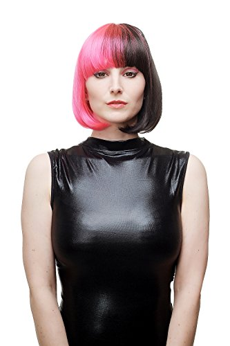 WIG ME UP ® - Perruque dame diable anarcho-sexy cosplay rose noir carré court lisse frange punk gothique SA066-TF2315H2