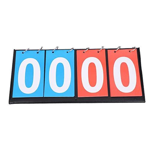 Anzeigetafel Sport Flip Anzeigetafel Scoreboard Ergebnis Flip Board Basketball Anzeigetafel, 2/3/4-stellige,tragbare Sport Anzeigetafel Score Counter für Tischtennis Fußball Volleyball( 4-stellig )