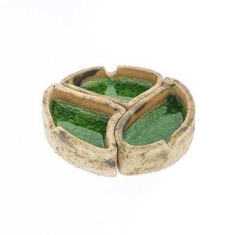 Cendrier rond vert en céramique et en verre fait main 13cm (13cm)