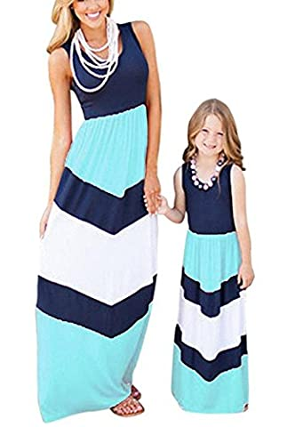OMZIN Mommy and Me Dress Family Clothes Long Maxi Dress Blue White L