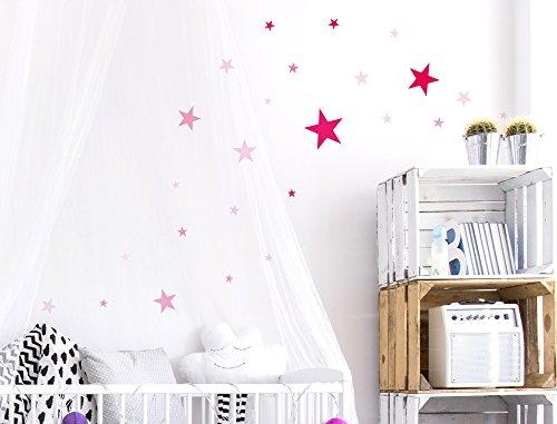 I-love-Wandtattoo WAS-10104 Kinderzimmer Wandsticker Set 'Pinke Sterne für Mädchen' zum Kleben Wandtattoo Wandaufkleber Sticker Wanddeko