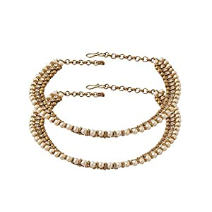 Indian Traditional J S Imitation American Diamond And Pearl Oxicidise Plated Anklets For Women
