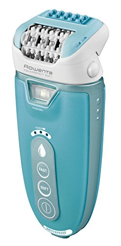 Rowenta ep9330 aqua perfect soft epilatore wet & dry con 4 accessori, turchese