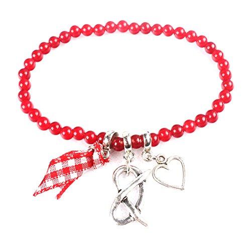 XY Fancy Damen Trachtenkette Satz Brezel und Herz Änhanger Trachtenschmuck Halskette und Armband für Dirndl und Lederhose Oktoberfest Korn Kette, Rot