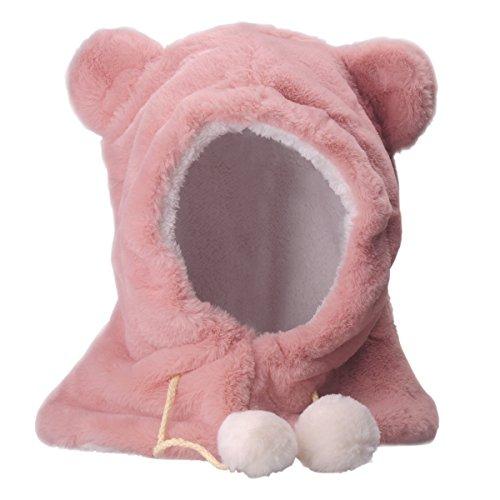 Baby Hut Schal - YOPINDO Winter warme Earflap Baby Kind Mädchen Boys Hüte Kapuze Schal Baumwolle Totenkopf Cap (Rosa) (Kapuzen-mütze Baumwolle)