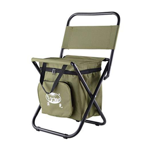 WRZHRXXH Isolierung EIS Pack Hocker Falten Stuhl Im Freien Tragbar Rückenlehne Stuhl Fischen Selbst-Fahren Tour Einfach Mazar Multi-Funktion-Armee grün