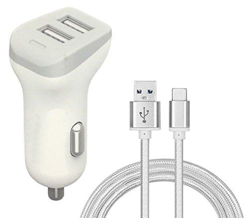 Preisvergleich Produktbild Auto Ladegerät 2.4A Dual USB 2 Eingänge Weiß Adapter Batterieladegerät + Silber Typ-C Kabel für TP-Link Neffos N1