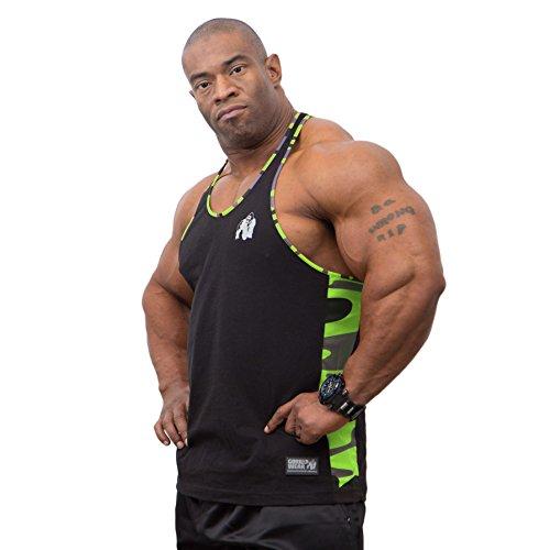 Gorilla Wear Sacramento Camo Mesh Tank Top - Black/Neon Lime, M (Top Tank Mesh Baumwolle)