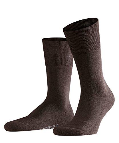 FALKE Herren Airport Plus Schurwolle Baumwolle Strümpfe Einfarbig 1 Paar Business Socken, Blickdicht, Brown, 43-44