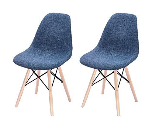 Lotto 2 sedie in tessuto blu - gambe in legno di faggio stile scandinavo, comfort e robustezza - retro