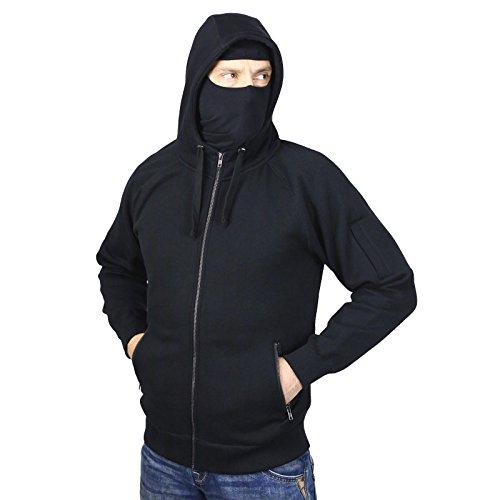 No Face No Name Ninja-Kapuzenjacke Style Assault mit abnehmbarer Maske schwarz (Zip Hoodie Full Maske)