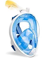 Schnorchelmaske Vollmaske, Gofun Tauchmaske Anti-Fog und Anti-Leck-Technologie mit 180 Grad Blickfeld für Erwachsene und Kinder (Blau, S/M)