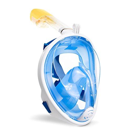 Máscara de snorquel, máscara de buceo, máscara antiempañamiento, sin filtraciones de agua y campo de vsiión de 180 º para adultos y niños (azul, negro, verde, rosa), azul