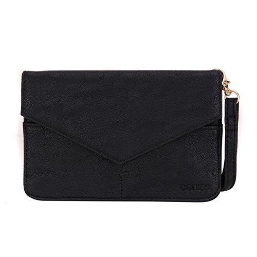 Conze da donna portafoglio tutto borsa con spallacci per Smart Phone per Oppo Neo 5/5S Grigio grigio nero