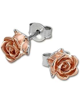 SilberDream Bicolor-Ohrstecker Rose 925 Silber Ohrringe rosévergoldet Silberschmuck SDO455T