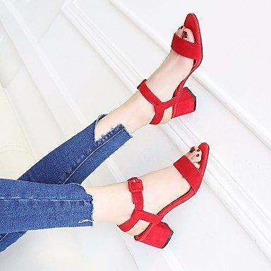 RUGAI-UE Donne sandali PU Scarpe Casual tacchi alti Red