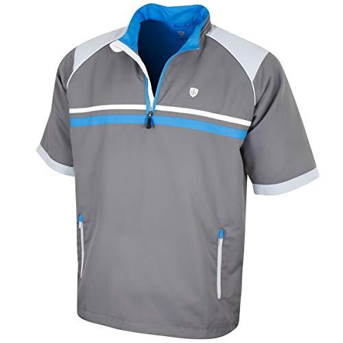 Half Zip Knit Top (Island Green Herren Iglknt1839 Half Zip Sleeve Knit Top, Bedrock Grey/Performance Blue, 44)