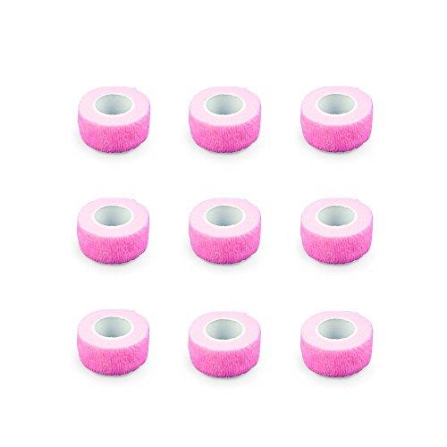 9er-Set Fingerverband | Pflasterverband | Pflaster ohne Kleber - in NEONPINK - 2,5cm x 4,5m - elastisch, wasserabweisend, kohäsiv