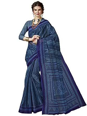 Jevi Prints Women's Pure Cotton Blue Ethnic Print Saree with Blouse Piece (Divisha-309_Blue_Free Size)