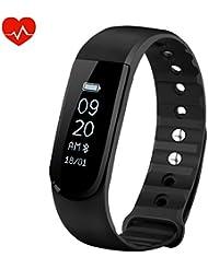 Bracelet Cardio OMorc Tracker d'Activité Smart Bracelet Connecté Sport Cardiofréquencemètre Montre sport Podomètre Calories Sommeil - Bluetooth 4.0 Smart Band Etanche IPX7 - Pour iPhone Android