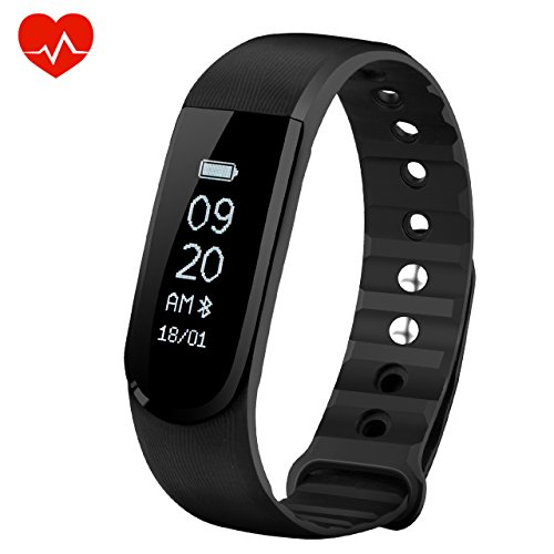 OMorc Smart Bracelet with Heart Rate Monitor, Bluetooth 4.0 Waterproof Smart Fitness Wristband Bracelet Sport Pedometer Activity Tracker with Music Control, Alarm, Step Tracker, Calorie Counter, Sleep Tracker for iPhone Android Smart Phone