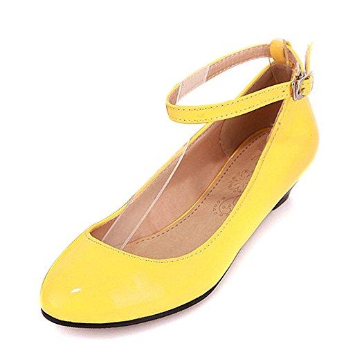 TAOFFEN Femmes Chaussures Mode Talon Ouest Talon Bas Escarpins De Boucle Jaune