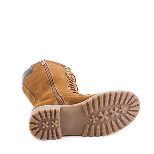 Trendige Damen Lace Up Schnür Stiefel Hochschaft Boots Braun Vienna