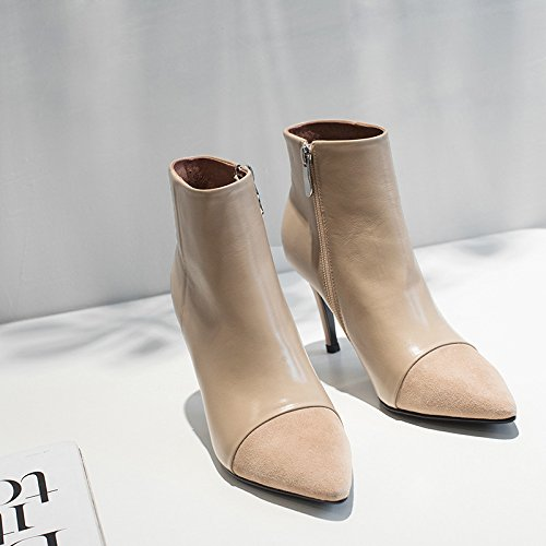 Autumn And Winter Women'S Boots Leather Sharp Heel High Heels Low Cylinder Women'S Short Boots Black