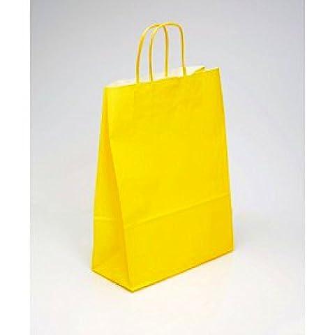 5x Kleine Gelb Twisted Griff Papier Tasche für Geschenke, Partys und stellt 18cm x 22cm x 8cm
