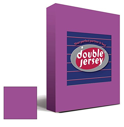 Double Jersey - Spannbettlaken 100% Baumwolle Jersey-Stretch bettlaken, Ultra Weich und Bügelfrei mit bis zu 30cm Stehghöhe, 160x200x30 Prune - 2