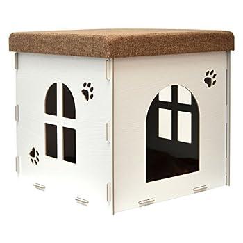 Eyepower Niche à Chien Dôme pour Chat 46x46x46cm Taille Grande L Maison boîte carrée avec Couvercle rembourré pour s'asseoir Repose-Pied Blanc