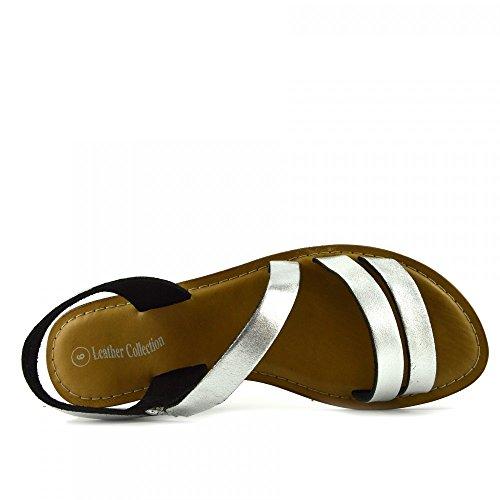 Kick Footwear - Moda Donna Estate Casual Sandali Scarpe Di Cuoio Naturale Argento F0936