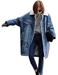 Giacche Jeans Donna Invernali Elegante Moda Giacche di Transizione Manica  Lunga Bavero con Pelliccia Tasche Anteriori ef9188065a9