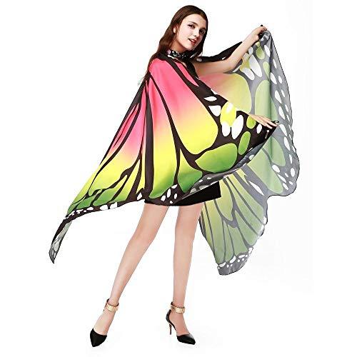 HEATLE Mode Damen Persönlichkeit Sommer Schmetterlingsflügel-Schal-Schals Damen Nymphe Pixie Poncho Kostüm Zubehör(Grün,One Size)