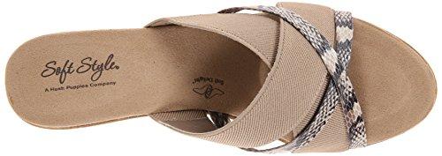 Doux Style Par Hush Puppies Jessie Dress Sandal Natural Elastic/Pearlized Python