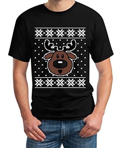 Hässlicher Weihnachtspullover Rudolph Rudolf Rentier T-Shirt XXXXX-Large Schwarz