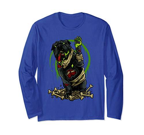 Untoten Der Kostüm Armee - Halloween-Zombie-Bulldoggen-beängstigendes Hunde-Geschenk Langarmshirt