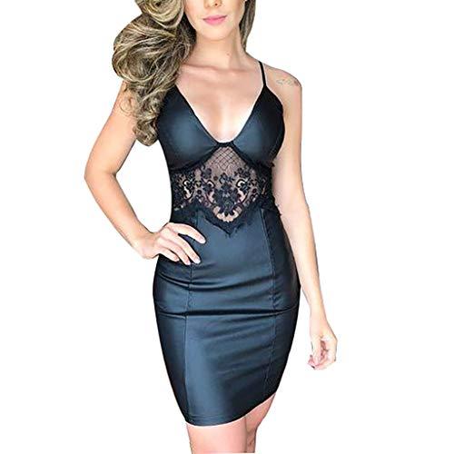 (MAYOGO Lackleder Kleid Damen Kurz Schwarz Spitzen Patchwork Etuikleid Minikleid Spagettiträger V-Ausschnitt Sexy Schick Bodycon Bleistiftkleid für Damen Club Party)