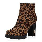 SCARPE VITA Damen Stiefeletten Plateau Boots Leo Print High Heel Booties 173181 Leopard 38