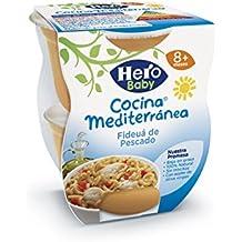Hero Baby Cocina Mediterránea Mediterránea Fideuá de Pescado, Tarrina de Plástico - Paquete de 2 x 200 gr - Total: 400 gr - [Pack de 6]