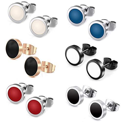 6 Paar Ohrstecker aus Titan für Männer und Frauen Unisex, Hypoalergen, nickelfreier Ohrstecker, Edelstahl Kreolen Ohrringe Herren Pierced Earrings Bunt Farbe Mens Womens Stud Earrings Set
