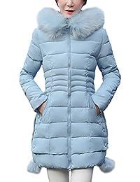 DianShao Mujer Chaqueta Larga De Elegante Abrigo De Algodón Cremallera  Outwear con Capucha 35195a4c14a