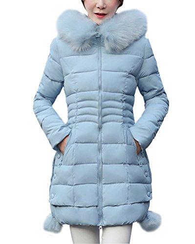 Damen Mantel Winterjacke Daunenmantel Steppjacke Mit Kapuzen Übergangsjacke Parka Lang Hellblau XL