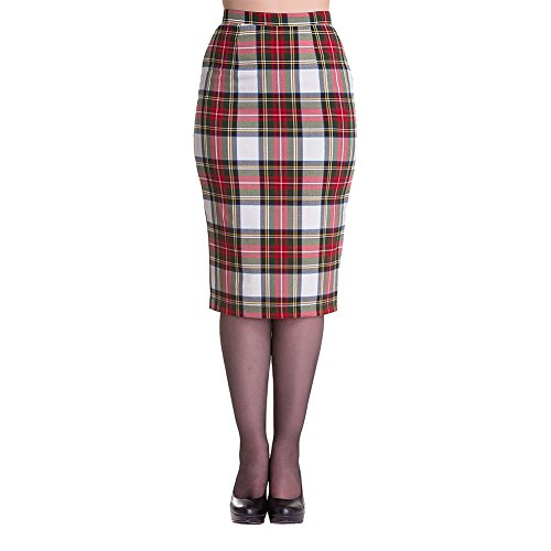 Hell Bunny Stewart White Tartan Retro Punk Pencil Wiggle Skirt  in 4 Sizes. Ideal for Punk Dress-Up.