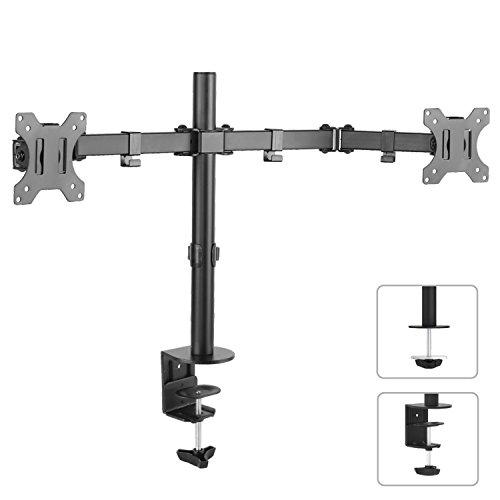 "Maclean MC-754 2-fach Tischhalterung Dual Monitorarm 360° 13-32"" Doppel Arm Monitor Halterung LCD LED VESA 75x75 100x100 bis 8kg (2-fach 3x Gelenke)"
