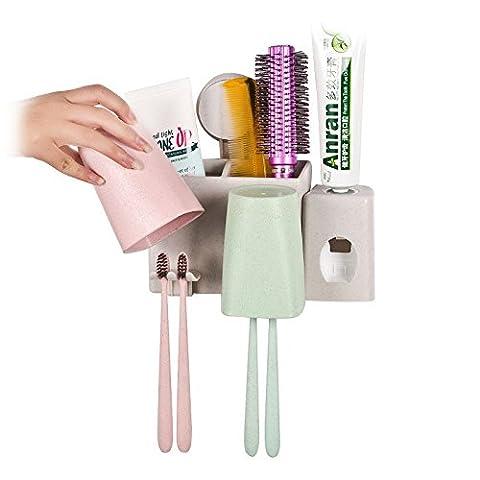 SAEJJ-le mur de paille de blé bains brosse rack, trousse de nettoyage de succion, brosse à dents, rack, dentifrice